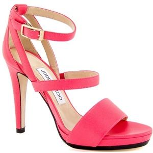 Jimmy Choo Pink Neon Dose Mary Jane Strappy Heels